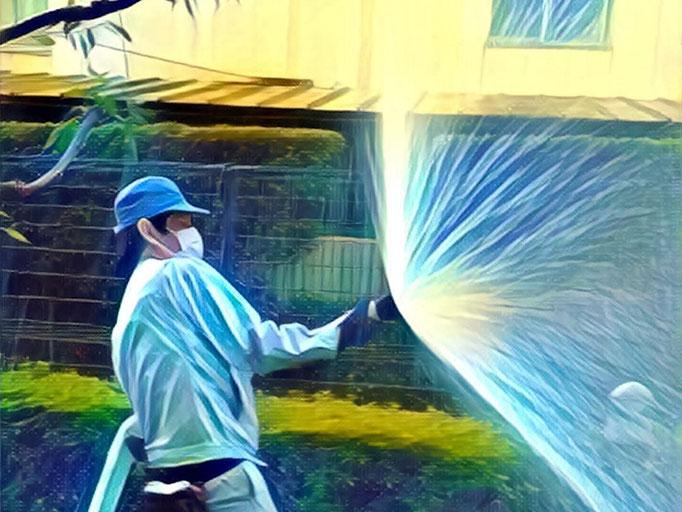 屋外消火栓放水試験の様子