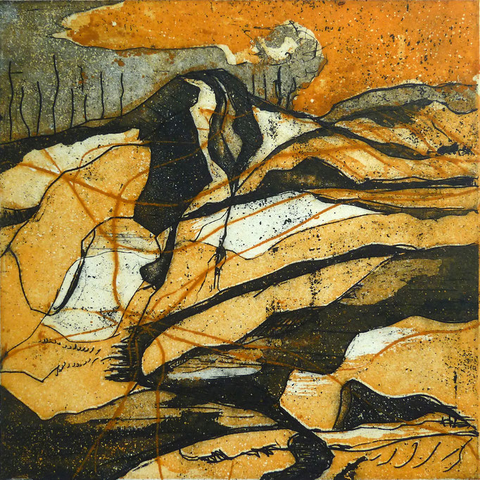 """Hartmut Trache: """"gefühlte Landschaft"""" Farbradierung, 20x20 cm, 2017"""