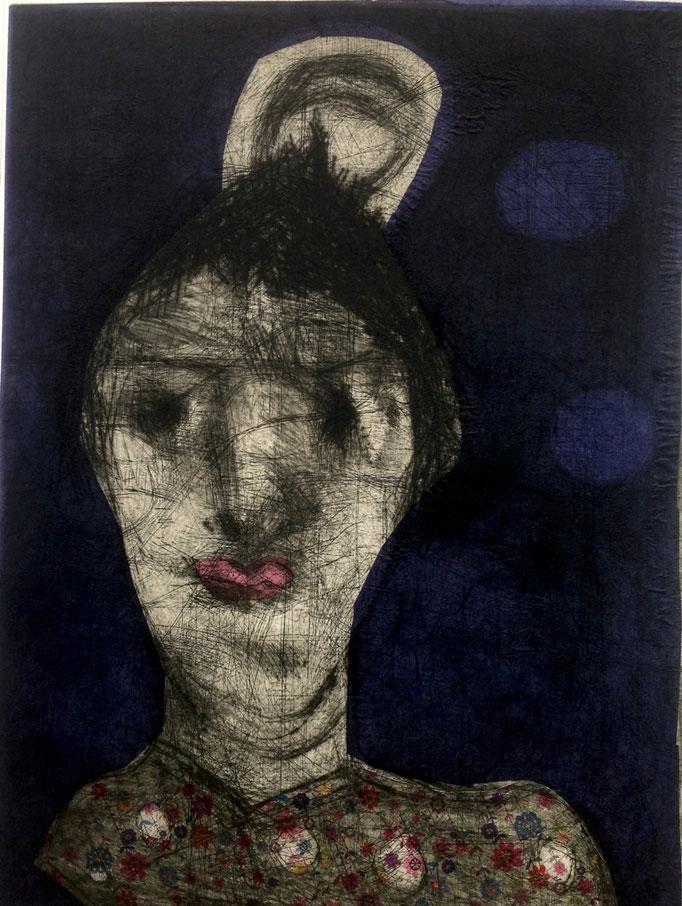 "Barbara Mäder-Ruff: ""Kopf III"" Radierung, 46x33cm, 2017"