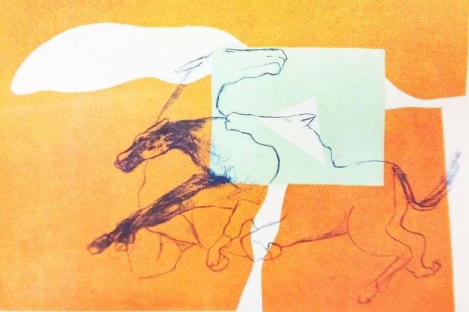 Helene Heyder: Flucht, Algrafie / Schablonendruck, 2017