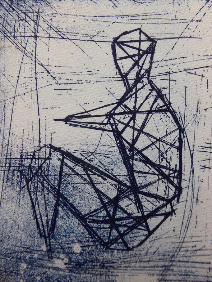 """Thomas Linde: """"Kauernder Krieger"""", Cliché verre, 2018 (Ausschnitt)"""