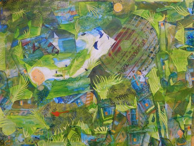 """Annette von Bodecker-Büttner: """"Abschied"""", Collage/Acryl, 2018 (Ausschnitt)"""