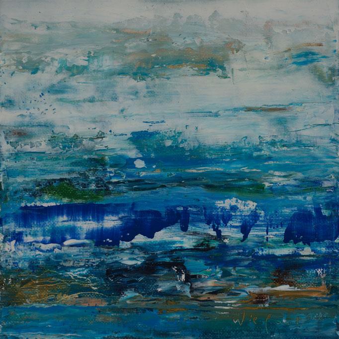 Wieland Richter: Am Wasser, Öl auf Karton, 2019