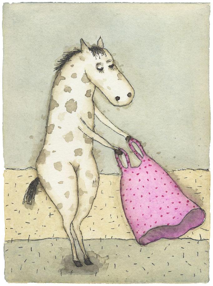 """Holger Koch: """"Pony & Kleid"""", Radierung-Aquarell, 2018"""