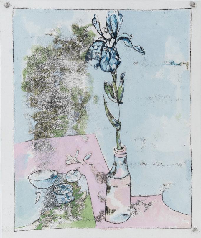 Miriam Moritz: Einzelne Iris, Monotypie-Tempera, 2019