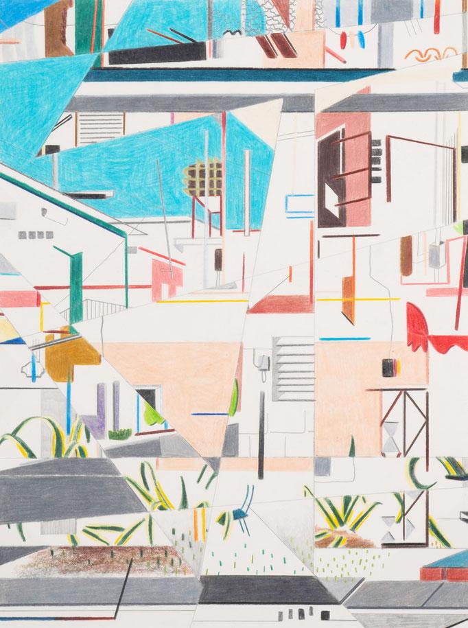 Stefan Schwarzer: Calle P. Lacoste II - La Habana - Cuba, aus der Serie MEZCLA MOMENTOS, Buntstift auf Papier, 2019