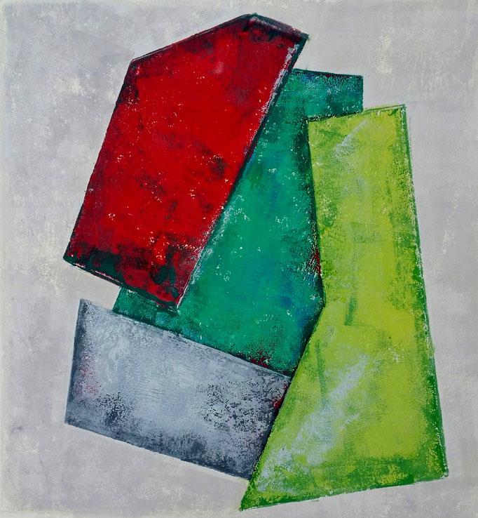 "Janina Kracht: ""Quatro III"",  Linoldruck, 30x30 cm. 2018"