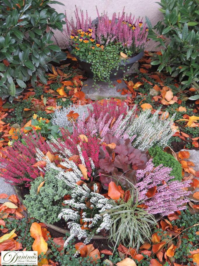 Herbstliche pflegeleichte Grabbepflanzung mit Heidekraut.