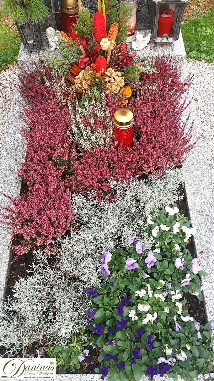 Herbstliche Grabbepflanzung  pflegeleicht. Beispiel zum Selbermachen.