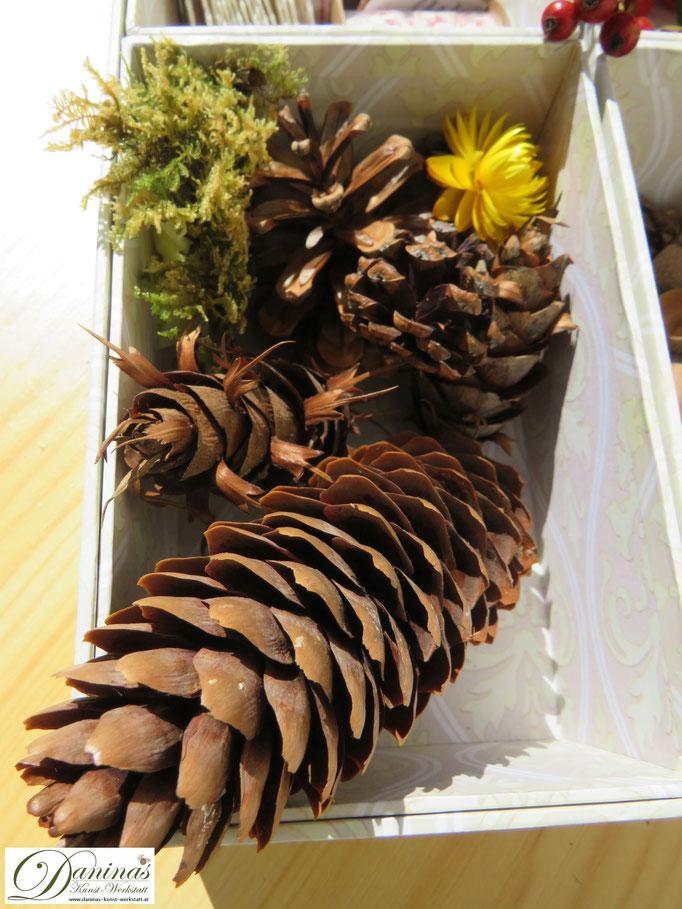 Herbst ist Sammelzeit für Bastelmaterial wie Zapfen und Moos. Herbstdeko basteln: Herz mit Hagebutten - Schritt für Schritt Anleitung by Daninas-Kunst-Werkstatt.at