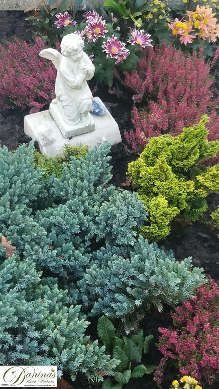 Grabgestaltung und Grabbepflanzung im Herbst pflegeleicht mit immergrünen Stauden