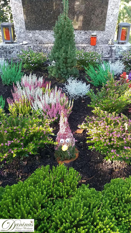 Grabgestaltung und Grabbepflanzung im Herbst pflegeleicht. Idee zum Selbermachen.