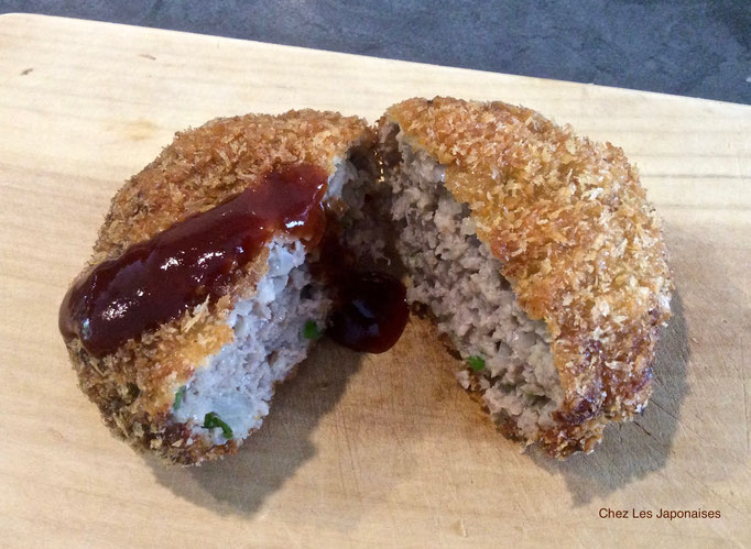 メンチカツ Menchi-katsu : Croquette des viandes hachées mélangées avec oignons hachés