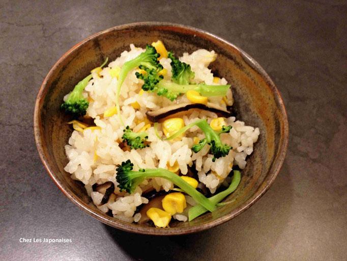 玉蜀黍ごはん Riz au maïs et aux champignons Shiitaké