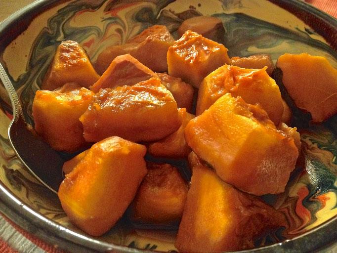 赤栗かぼちゃの煮物 Potimarron mijoté sucré salé
