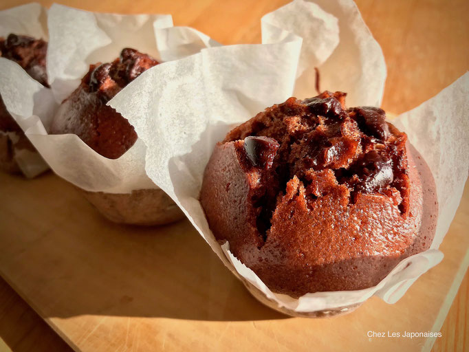 チョコ蒸しケーキ Mushi cake (cake cuit à la vapeur) au double chocolat