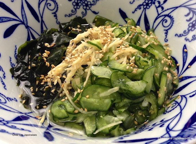 きゅうりとワカメの酢の物 Salade de Concombre et Wakamé