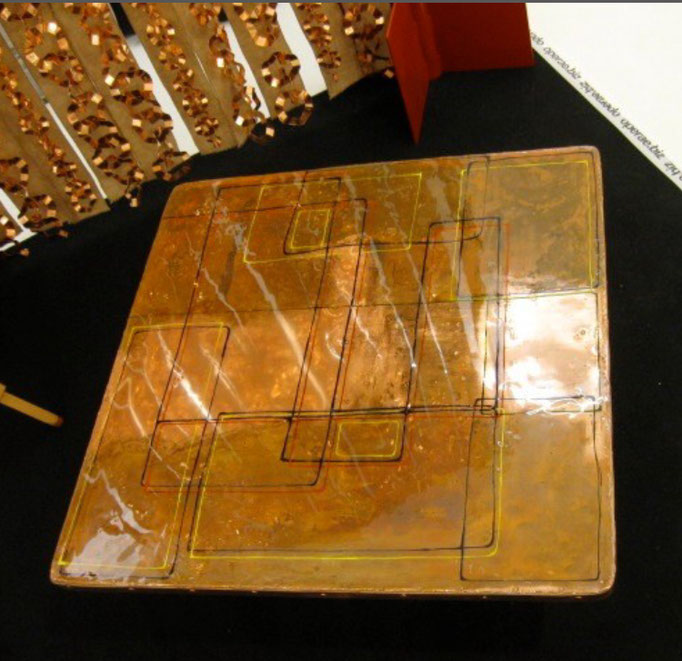 GRANRAME, 2011; A.F.Borzacchini design; reclaimed table top, nailed copper sheet, oxidized, acrylic painted, epoxy resin