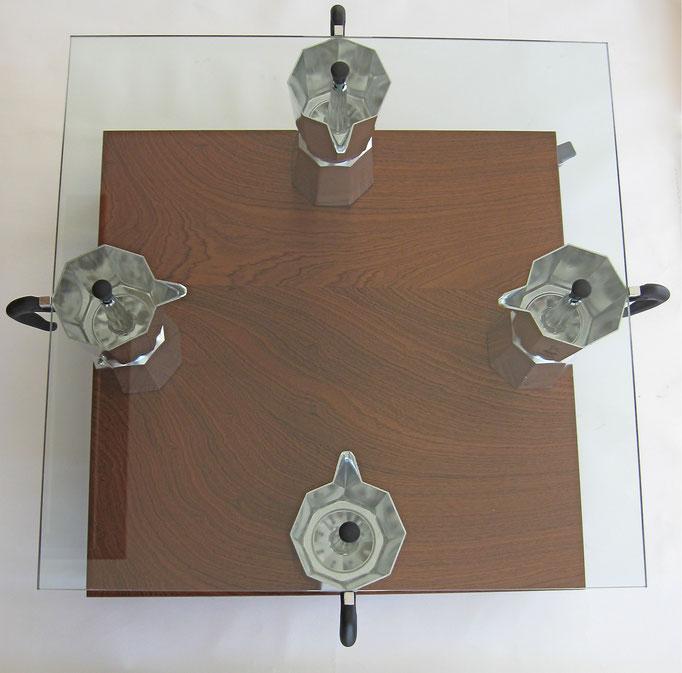 MOKA coffeetable, quadrato, cm. 60/68x60/68x43 - 4 Moka Bialetti 18 tazze, vetro, multistrato di mogano,ruote