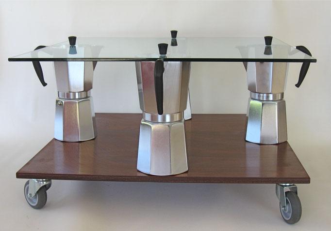 MOKA coffeetable, quadrato, cm. 60/68x60/68x43 - 4 Moka Bialetti 18 tazze