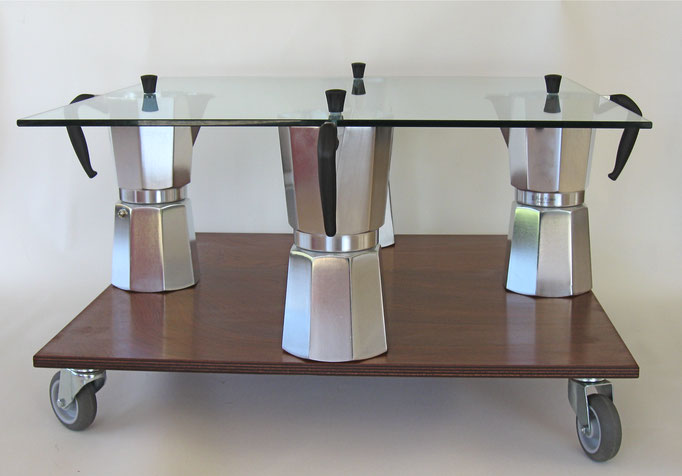 MOKA coffeetable, square, cm. 60/68x60/68x43 - 4 Moka Bialetti 18t, glass mahogany plywood, wheels