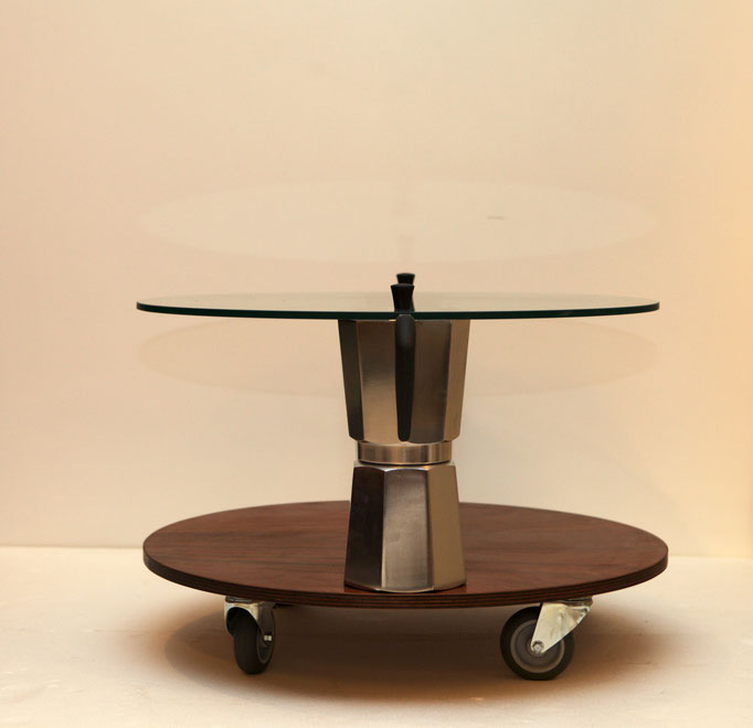 MOKA coffitable, round, cm.60/68x43 - 2 Moka Bialetti 18t, glass, wood,wheels