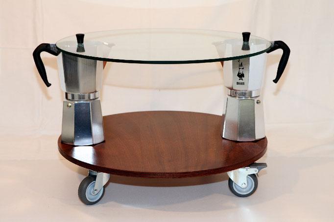 MOKA coffitable, tondo, cm.60/68x43 - 2 Moka Bialetti 18 tazze, vetro, multistrato mogano, ruote