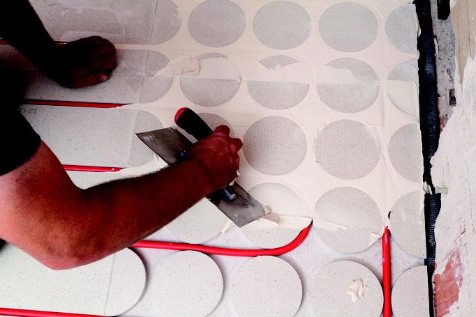 Fußbodenheizung auf Trockenestrich Knauf GIFAfloor PRESTO - verspachteln
