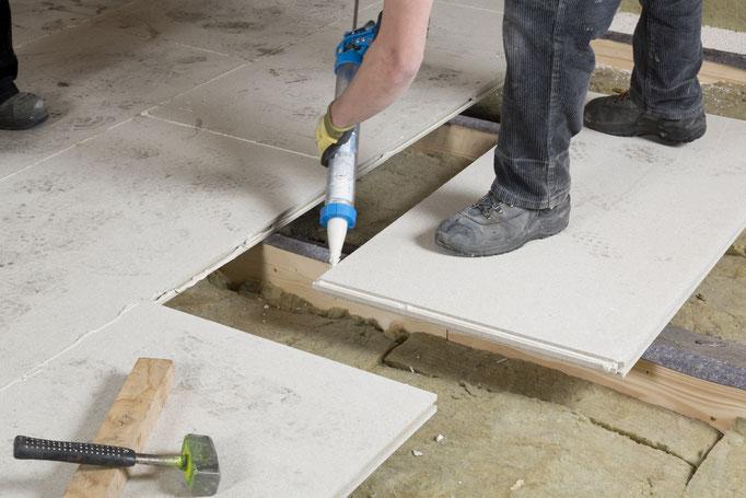 Verlegung GIFAfloor PRESTO auf Holzbalkendecken Verleimung