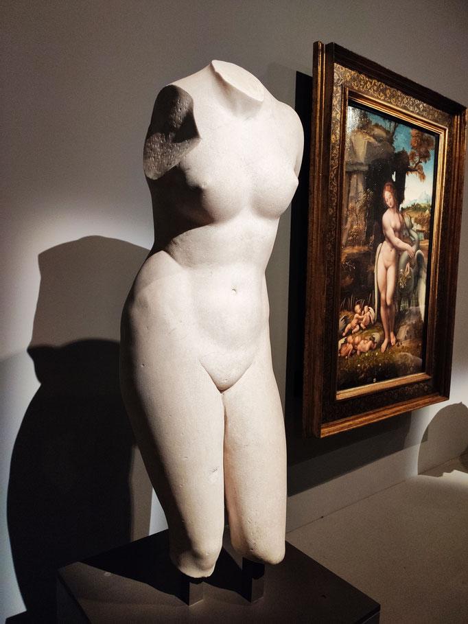 Torse du type de l'Aphrodite de Cnide -IIe siècle après le Christ - (en arrière plan, Léda debout)