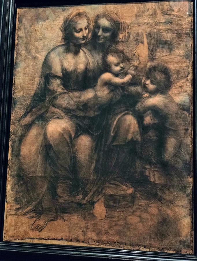 La Vierge, l'Enfant Jésus avec sainte Anne et saint Jean Baptiste -Pigments sur papier teinté - (1499-1500)