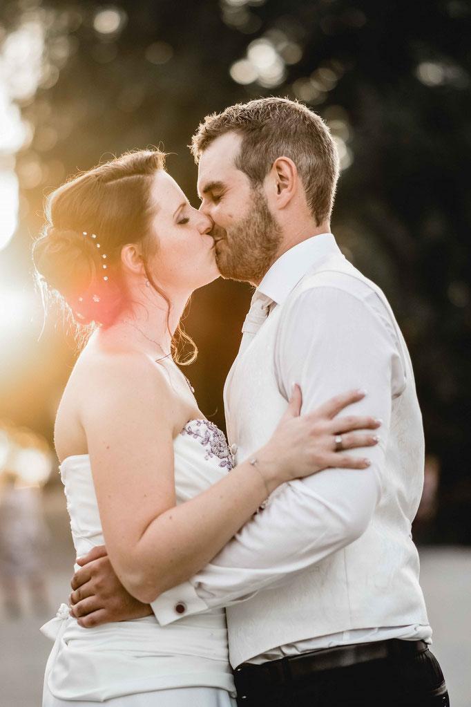 Sonnenuntergang Hochzeitsbild Freising Brautpaar