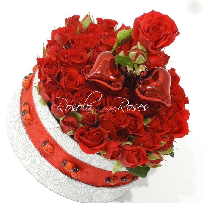 Roses rouges en boite