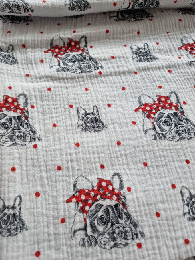 Bulldogge mit Masche auf weiss, roten Punkte - Musselin