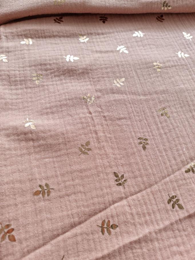 Blätter gold foliert rosa - Musselin