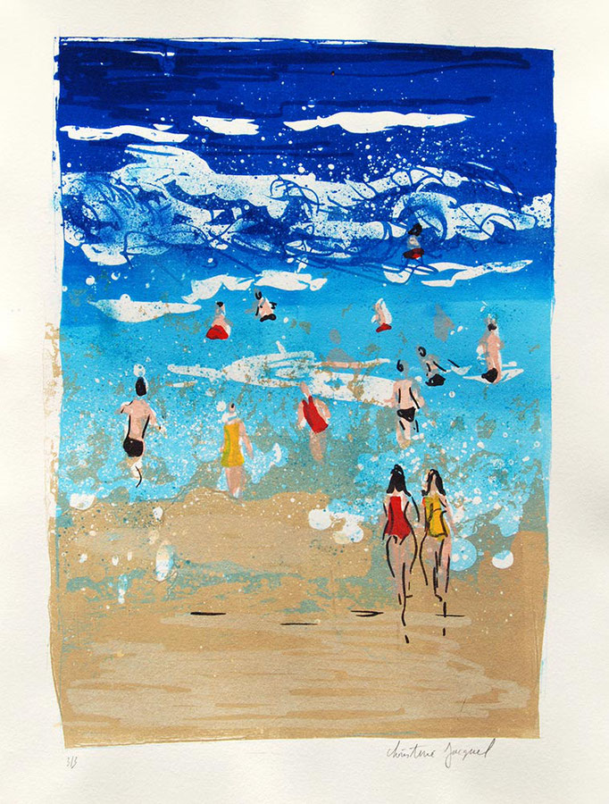 Lithographie d'une plage avec des baigneurs