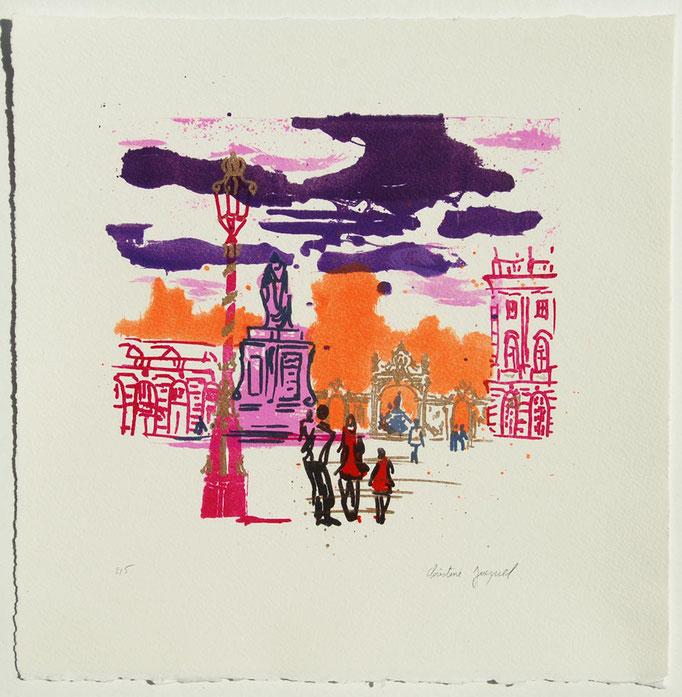 Lithographie originale orange et violette