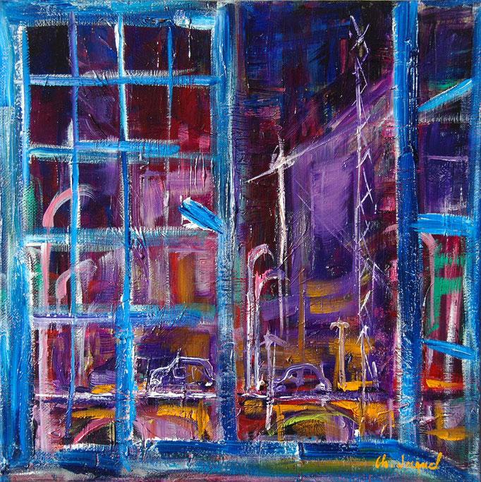 Par la fenêtre huile sur toile 30cm x30cm
