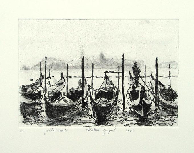 Estampe originale gondoles à Venise