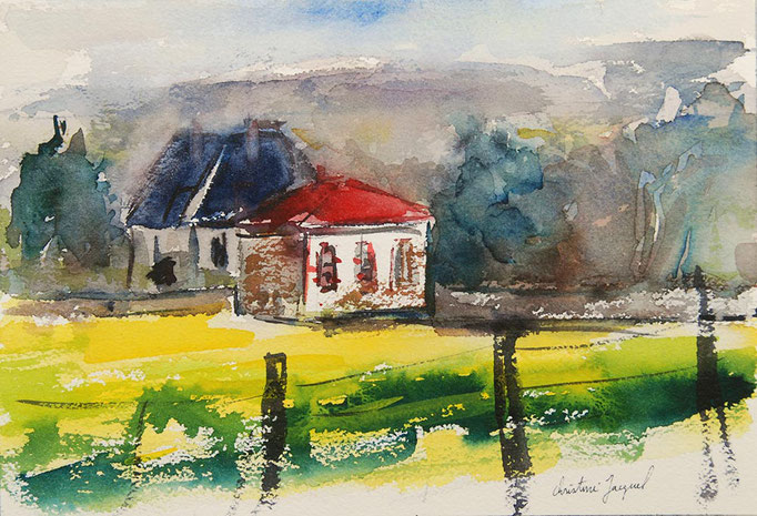 Aquarelle originale d'un paysage en France