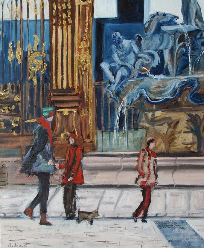 Peinture à l'huile du côté de la fontaine de Neptune 60cm x73cm
