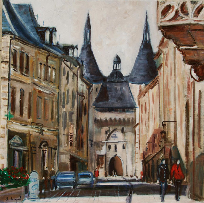 Peinture à l'huile de la porte de la Crafffe à Nancy 60cm x60cm