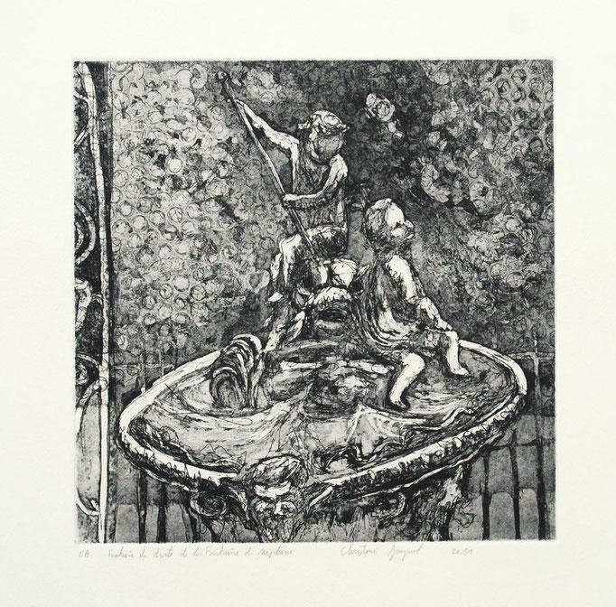 Estampe originale la petite fontaine de la fontaine de Neptune place Stanislas
