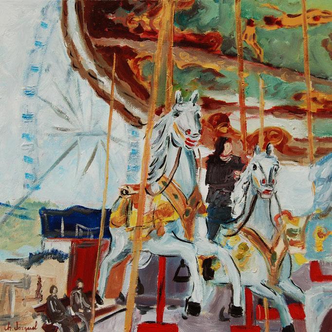 Peinture à l'huile du carrousel galopant 40cm x 40cm