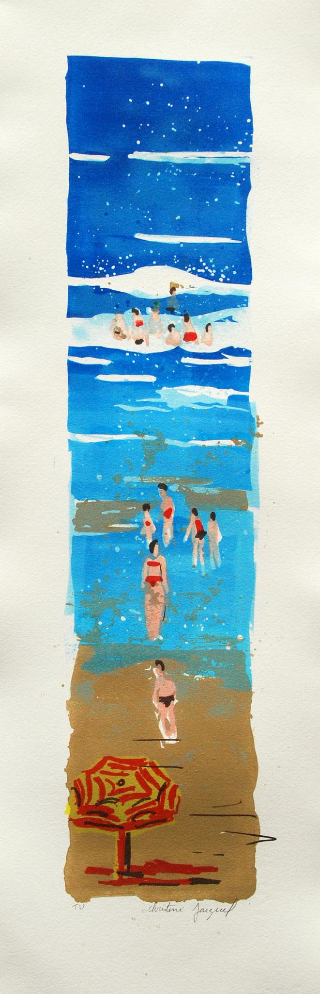Lithographie originale de vacances au bord de la mer