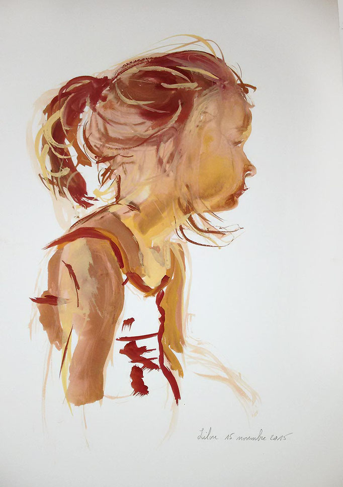 Aquarelle et gouache originale d'un profil de petite fille