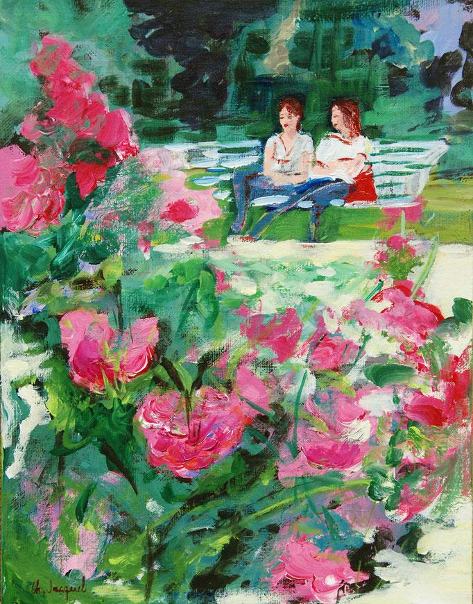 Peinture acrylique de 2 femmes à la roseraie 35cm x27cm