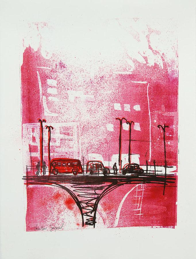 Lithographie originale rose