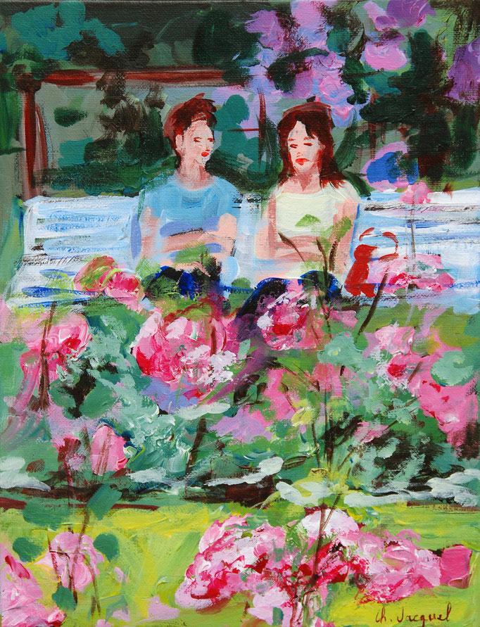 Peinture acrylique de 2 femmes sur un banc à la roseraie 35cm x27cm