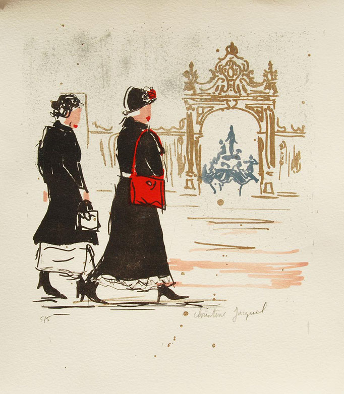 Lithographie originale de deux femmes place Stanislas
